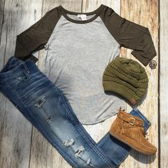 NEW! Olive and Gray Raglan - $21 shipped. Comes in S to L (Junior Sizing) Pair with a scarf or CC Beanie for the perfect fall look! Fringe Booties are down to a size 5.5 and 6 (will be restocked soon) Comment to order or head to our website