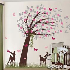 Fawns Cherry Blossom Tree with Butterflies - Nursery Wall Decal