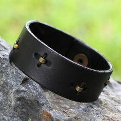 Men's Unique Leather Wristband Bracelet, 'Hide and Seek in Black'