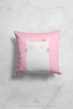 """New super-cute cat throw pillow cover by Otto and Pixels. The pillow sham is available both as square and rectangular pillow cover. The fabric is polyester with a premium linen feel. You find the cat pillow case in my Etsy shop. Price from 25 EUR. Click to buy!  Use coupon code """"PINFRIENDS"""" and get 10% off!  #kidspillow #pillowcase #throwpillow #catpillow #nurserydecor #catdecor #kidsroomdecor #babygift"""