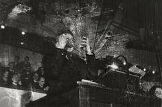 Robert Capa, Leon Trotsky lecturing Danish students on the history of the Russian Revolution, Copenhagen, November 27, 1932