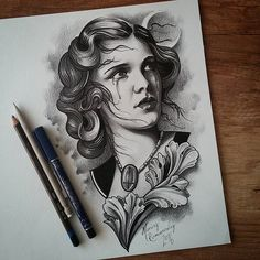 Lady Nocturne :-) #tattooflash #inkdrawing#illustration #tattooscetch #realisticportrait #inked #inkedgirls #drawing #tattooflash #neotraditional #newtraditionaltattooers #newtraditionalist #illustration #neotraditionel #neotraditional #neo #traditionel #traditional #draw #drawing #tattoo #ink #tattooed #inked #sketch #sketches #flowers #animals  #woman #girl