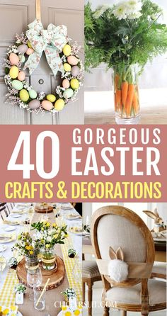Easter Decorations For The Home That You'll Love: Are you looking for DIY Easter decorations ideas that will turn your house into a festive paradise? These homemade Easter decorations include Easter wreath ideas, Easter centrepieces, Easter decorations table, Easter decorations for kids and preschoolers and so much more! Plus, if you're after Easter crafts for adults, Easter crafts kids or Easter crafts decorations, these ideas are brilliant. #easterdecorations #eastercrafts #easterdecor #diy