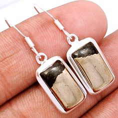 Pyrite In Magnetite (Healer's Gold) 925 Sterling Silver Earrings Jewelry PIME98