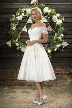 Brighton Belle by Truebride CHLOE Vintage Tea Length Wedding Dress With Embroidered Cap Sleeve And Sweethear Bodice available at Cutting Edge Brides Belle Wedding Dresses, Vintage Inspired Wedding Dresses, Celebrity Wedding Dresses, Wedding Dresses For Sale, Wedding Gowns, Rockabilly Wedding Dresses, 50s Style Wedding Dress, Wedding Bands, Brighton Belle