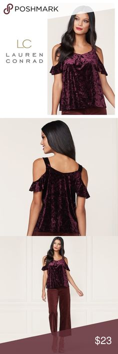 "NWT LC Lauren Conrad XS Velvet Cold Shoulder Top PRODUCT DETAILS  Rich, romantic style is yours in this women's LC Lauren Conrad velvet top from the Runway Collection.  PRODUCT FEATURES      Cold-shoulder design     V-neck     Short sleeves     Luxe velvet construction  FABRIC & CARE      Polyester, spandex     Machine wash         XS- Approx. 18"" Underarm to Underarm, & 24"" Length     Color: 	Valentino ( Wine Shade)     Brand new with tags      #040-318 LC Lauren Conrad Tops"