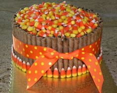 thanksgiving cake pirouettes ribbon | barrel cake yellow cake chocolate buttercream with fudge pirouette ...
