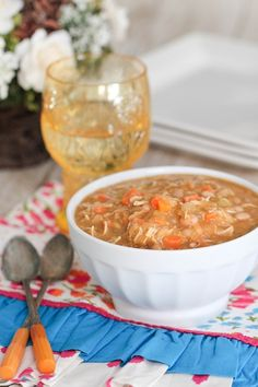 """White Bean Turkey Pumpkin Soup. I hesitate to call this """"chili"""" like the blogger does because it contains no chiles, but it does look hearty and simple! Maybe add some corn/peas, too."""