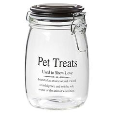 Take a look:  Webster 32 oz  Pet Treats Glass Jar with Airtight Lid in ClearWhite