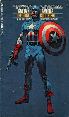 Captain America : The Great Gold Steal - Bantam Books 1968  Cover artist Mitchell Hooks via DEM's Book Shelves