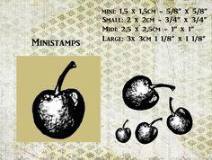 """Ministempel """"MINI""""op houtblokje kersjes design van artistamps op DaWanda.com"""