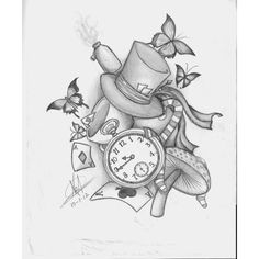 Alice in wonderland desing tattoo by Nem-Metalhead ❤ liked on Polyvore featuring accessories, body art and tattoos