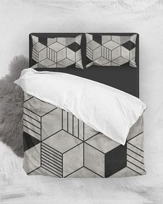 Concrete Cubes 2 // Duvet Cover + Pillow Shams by Zoltan Ratko // This pattern design is also available as a wall art, apparel, tech and home product. Pillow Shams, Duvet Covers, Pillow Covers, Bed Pillows, Cement Texture, Cozy Bedroom, Master Bedroom, Luxury Bedding, Grey Bedding