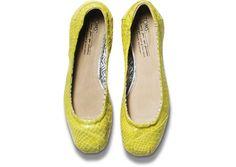 TOMS+ Yellow Serpentine Ballet Flats top