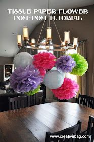 the creative bag blog: tissue paper flower pom-pom tutorial and a give away