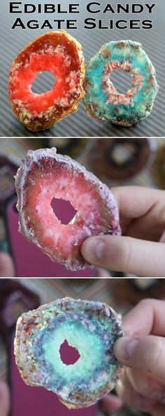 Trick your friends on April Fool's Day with this edible DIY! Learn how to make EDIBLE faux agate slices out of candy!Trick your friends on April Fool's Day with this edible DIY! Learn how to make EDIBLE faux agate slices out of candy! Cake Cookies, Cupcake Cakes, Owl Cakes, Fruit Cakes, Cake Fondant, Bundt Cakes, Geode Cake, Candy Dispenser, Cake Ball