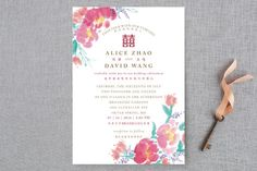 """""""Chinese Traditional"""" - Floral & Botanical, Hand Drawn Wedding Invitations in Petal by Qing Ji."""