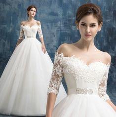 Lace Wedding Dress Sexy Wedding Dress Off The Shoulder Boat Bohemian Seven Sleeve Lace Wedding Dress Bridal Gown Floor Length Wedding Custom Size 6-8-10-12-14-16 ++
