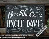 Here she comes - Here comes the bride - ring bearer sign - ring bearer banner