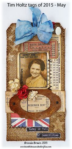 Bumblebees and Butterflies: Tim Holtz 12 Tags of 2015 - May using Tim Holtz, Ranger, Idea-ology, Sizzix and Stamper's Anonymous products; Atc Cards, Card Tags, I Card, Gift Tags, Handmade Tags, Paper Tags, Vintage Tags, Artist Trading Cards, Tag Art