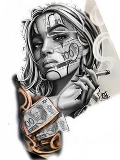 Black Ink Tattoos, Black And Grey Tattoos, Body Art Tattoos, Hand Tattoos, Gangster Tattoos, Chicano Tattoos Gangsters, Gangster Drawings, Chicano Drawings, Skull Girl Tattoo
