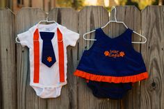 "TWIN Auburn Tigers Baby Girl Outfit and Baby Boy Tie and Suspender Onesie, Sibling Set, Sizes NB to 18 months, Embroidered ""War Eagle"". $60.00, via Etsy."