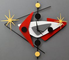 Steve Cambronne Cool Clocks, Unique Wall Clocks, Mid Century Modern Art, Mid Century Design, Retro Clock, Atomic Wall Clock, Clock Art, Googie, Inspiration Wall