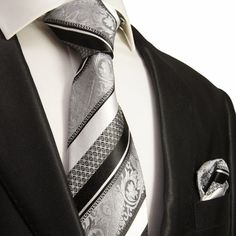 Silver and Black Silk Tie Set . Paul Malone Red Line