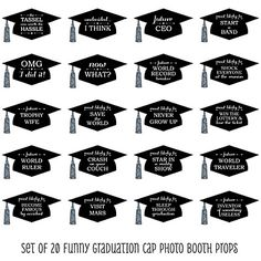 Funny Graduation Caps - Silver - 20 Piece Graduation Party Photo Booth Props Kit | BigDotOfHappiness.com