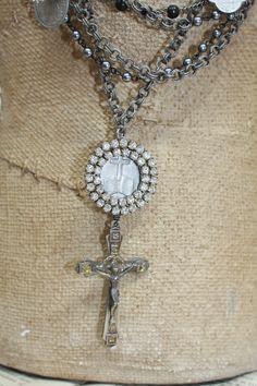Repurposed vintage jewelry.<3