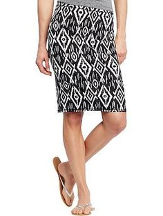 Womens Printed Jersey Pencil Skirts- Old Navy  I like this look but the fit was terrible so I just want to make my own.