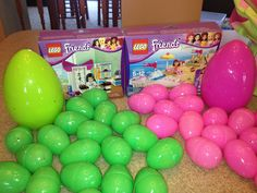Lego Friends set divided into eggs for my girls. Each girl has her own color of eggs to find. Pick up a jumbo egg for the instruction booklet and any large bricks that won't fit in the smaller eggs.