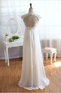 Vintage Lace Chiffon Wedding Dress Keyhole Empire by dresstalk