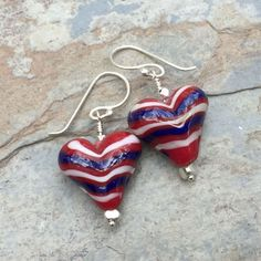 Patriotic Earrings, Heart Earrings, Red White and Blue Earrings, 1.5 inches long.