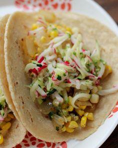 How To Make Taco Recipe : Tacos with Corn, Zucchini-Radish Slaw and Avocado {Recipe Redux}