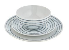 Set the table in coastal style with this rustic stripe dining set in fresh blue and white. Priced at £35.