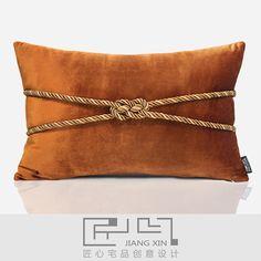 匠心宅品现代中式欧式样板房床头沙发抱枕橘红绒绑绳腰枕(不含芯