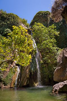 The waterfall inside the small but beautiful Richtis Gorge, near Sitia, in Crete, Greece.