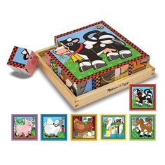 Melissa and Doug Farm Wood Cube Puzzle, Multicolor