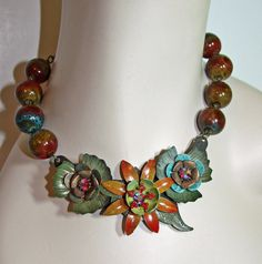 Vintage Enamel Flower Necklace  Chunky Ceramic by JaelDesigns, $56.00