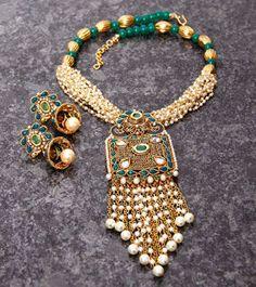 Golden, Green & White Embellished Necklace Set