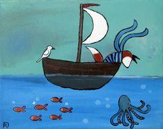 Kids Wall Art, Fox in Boat Whimsical Original Illustration, Woodland Nursery on Etsy, Sold