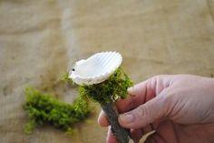 Make this adorable fairy garden bird bath from a sea shell.