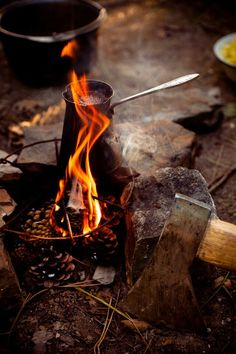 Quick way to get a fire going... pinecones!