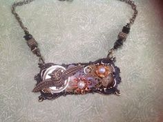 Steampunk Owl in flight.. Everything but chain is B'Sue.. 7/26/15