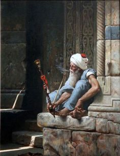The old man with a hookah