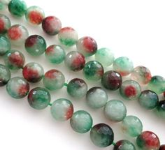 Mix Green Brown Beads Reddish Round Agate Beads by BijiBijoux