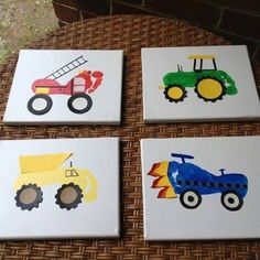 DIY - Footprint truck and tractor art or on a steps tool!! ❤️❤️