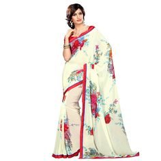 This cream #georgette #saree with #red and blue floral prints brightly spread all over is a fascinating choice for a spring look. It is #light, fashionable and gels perfectly with the essence of the season. #StayTrendyWithIndiaRush