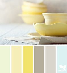 Another cute color scheme - showing how a pop of yellow can work with gray and blue. Guest room!